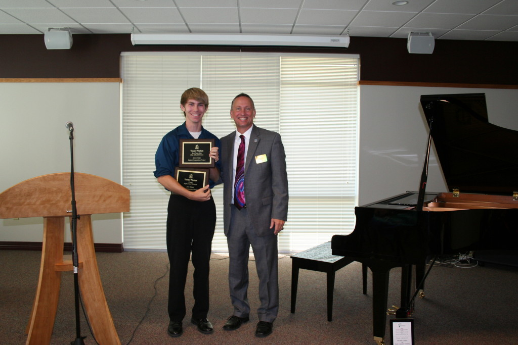 Tanner Nielsen, 2015 High School Division Winner, attends Luck High School along with Tim Schaid. Jennifer Gilhoi is Tanner's school music teacher and Vickie Peterson is his piano teacher.